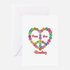 Bowling Peace Love Greeting Card