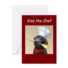 Black Labrador Chef Dog Greeting Card - blank