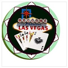 Las Vegas Welcome Sign Poker Chip Poster