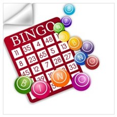 Las Vegas Bingo Card and Bingo Balls Wall Decal