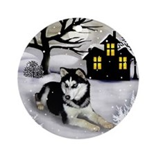 SIBERIAN HUSKY DOG WINTER Ornament (Round)