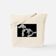 Great Lakes (white on black) Tote Bag