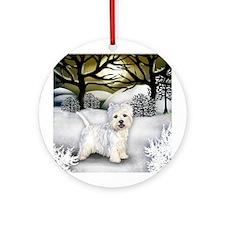 WESTIE DOG WINTER SUNSET Ornament (Round)