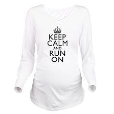 Keep Calm Run On Long Sleeve Maternity T-Shirt
