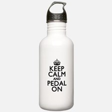 Keep Calm Pedal On Water Bottle