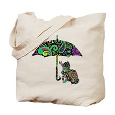 Paisley umbrella cat and butterfly Tote Bag