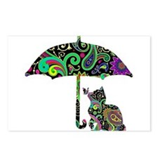 Paisley umbrella cat and Postcards (Package of 8)