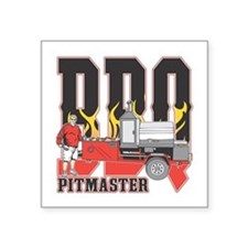 "BBQ Pit master Square Sticker 3"" x 3"""
