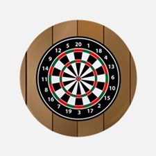 Darts Board On Wooden Background Button