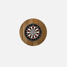 Darts Board On Wooden Background Mini Button