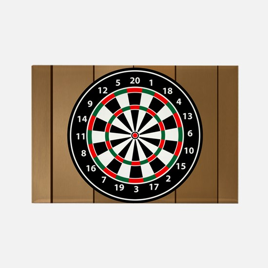 Darts Board On Wooden Background Magnets