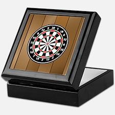 Darts Board On Wooden Background Keepsake Box