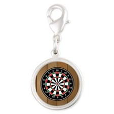 Darts Board On Wooden Background Charms