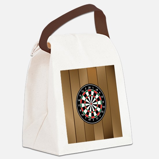 Darts Board On Wooden Background Canvas Lunch Bag