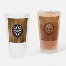 Darts Board On Wooden Background Drinking Glass