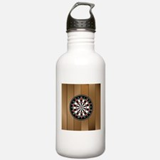 Darts Board On Wooden Background Water Bottle