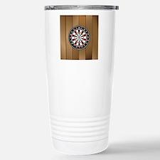 Darts Board On Wooden Background Travel Mug