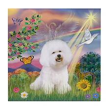 Cloud Angel & Bichon Frise Tile Coaster