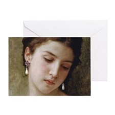 Woman with pearl earrings added Greeting Card