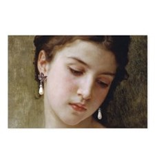 Woman with pearl earrings Postcards (Package of 8)
