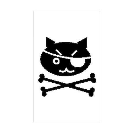 PIRATE CAT (BLK) Rectangle Sticker
