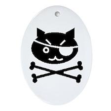 PIRATE CAT (BLK) Oval Ornament