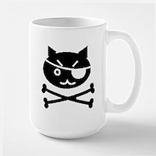 PIRATE CAT (BLK) Large Mug