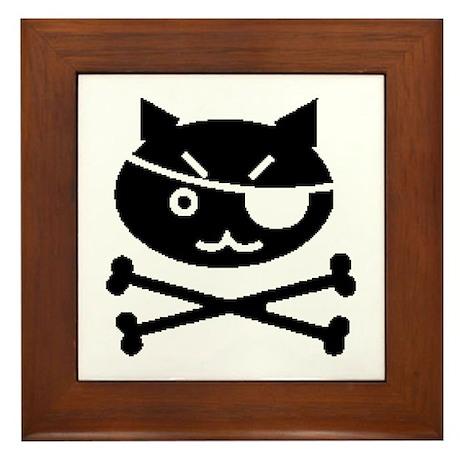 PIRATE CAT (BLK) Framed Tile