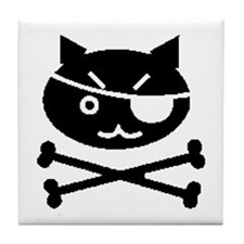 PIRATE CAT (BLK) Tile Coaster