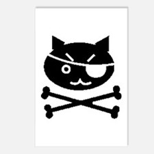 PIRATE CAT (BLK) Postcards (Package of 8)