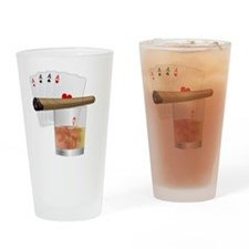 Four Aces and a Cigar Drinking Glass