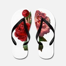 Vintage Roses in Red and Pink Flip Flops