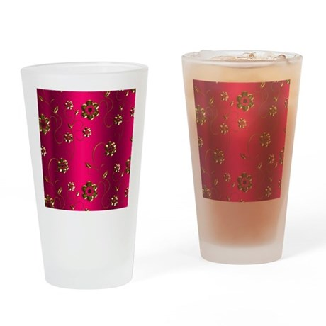 Golden Flowers on Crimson Pink Drinking Glass