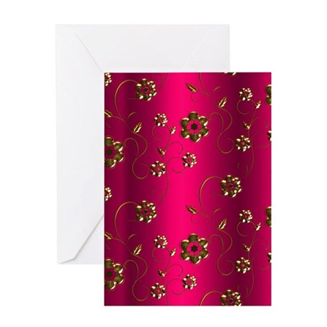 Golden Flowers on Crimson Pink Greeting Cards