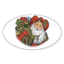Santa and His Bag Oval Decal