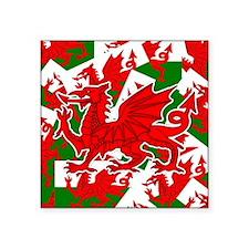 "Welsh Dragon - Draig Square Sticker 3"" x 3"""