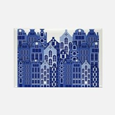 Amsterdam Houses In Blue Rectangle Magnet