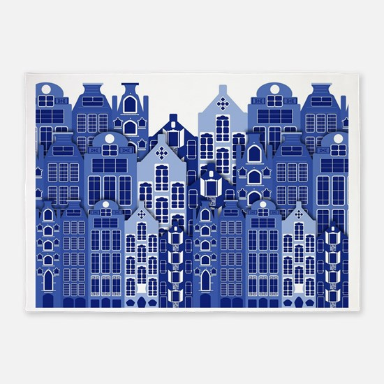 Amsterdam Houses In Blue 5'x7'Area Rug