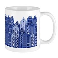 Amsterdam Houses In Blue Mug