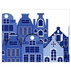 Amsterdam Houses In Blue Poster