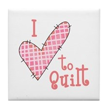 I LOVE TO QUILT Tile Coaster