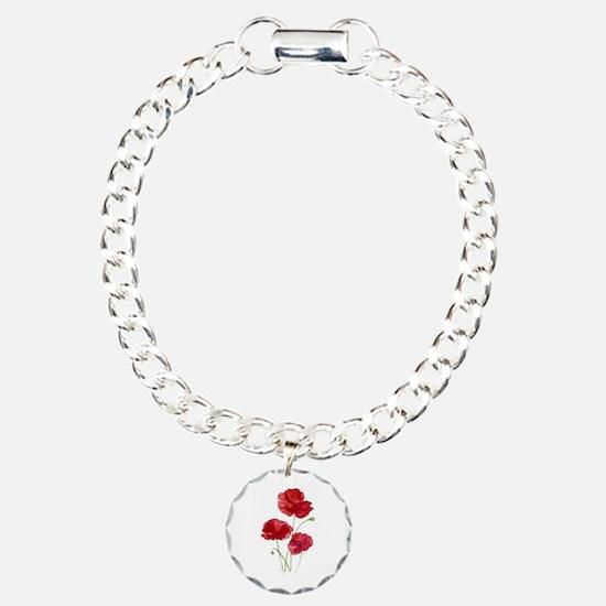 Watercolor Red Poppy Garden Flower Charm Bracelet,