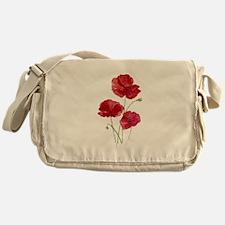 Watercolor Red Poppy Garden Flower Messenger Bag