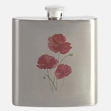 Watercolor Red Poppy Garden Flower Flask