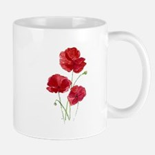 Watercolor Red Poppy Garden Flower Mugs