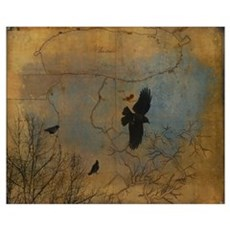 Crows Fly Above Canvas Art