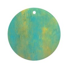 Turquoise and Gold Abstract Round Ornament