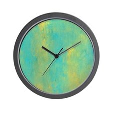 Turquoise and Gold Abstract Wall Clock