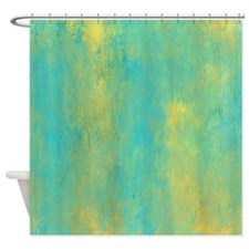 Turquoise and Gold Abstract Shower Curtain