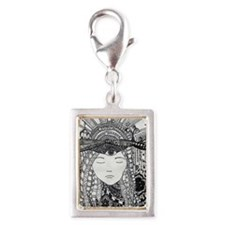Wide eyed Dreaming Silver Portrait Charm